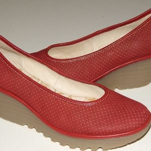 FLY LONDON red proliferated wedge shoes 41 us 11